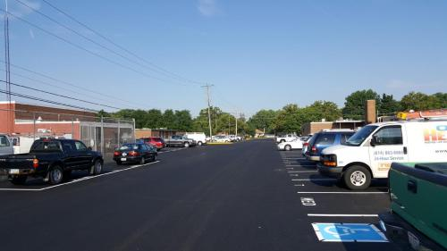 A finished lot that is paved and striped